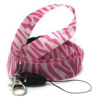 White And Pink Zebra Lanyard: Toys & Games
