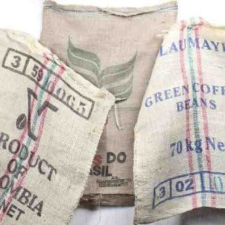 Group of 4 Assorted Style Burlap Coffee Sacks for Home Decor, Primitive Accents and More