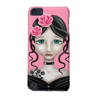 Sad Girl with Pink Roses iPod Touch (5th Generation) Case
