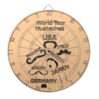 Funny Mustaches World Tour hipster mustache styles Dartboard With Darts