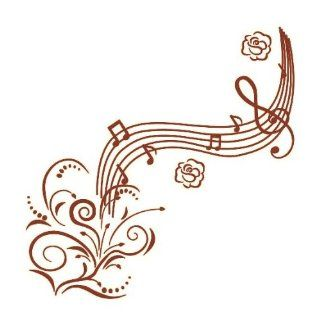 Brown Music Notes with Flowers Wall Decals Removable Wall Art Decal Sticker Mural DIY Vinyl D�cor Room Home   Nursery Wall Decor