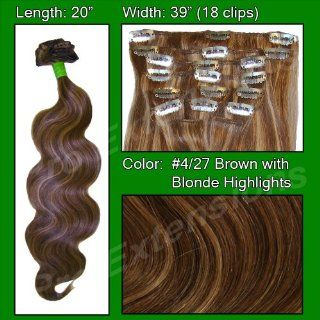 Brybelly Holdings PRBD 20 427 No. 4 27 Dark Brown w Golden Blonde Highlights   20 in. Body Wave Health & Personal Care