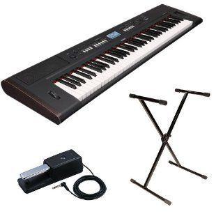 Yamaha NP V80 76 Key Keyboard with Stand and Roland DP 10 Damper Pedal Bundle Electronics