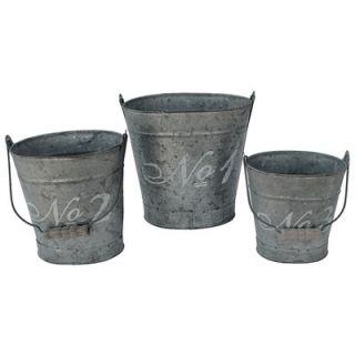 white x white french script oval bucket set
