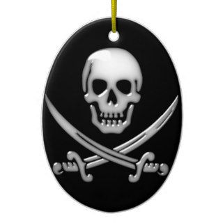 Glassy Pirate Skull & Sword Crossbones Christmas Tree Ornaments