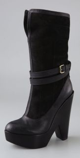 Derek Lam Ilka Suede Clog Boots on Cutout Wedge