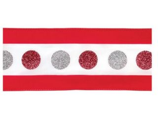 "Pack of 4 Red, White and Silver Polka Dot Wired Christmas Ribbon 4"" x 40 Yds"