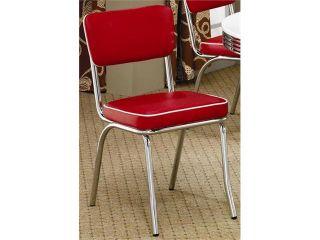 50's Soda Fountain Chair   Red Cushion (Sold As a Pair) by Coaster Furniture