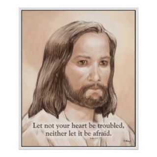 Sepia Jesus Art Bible Quote   John 14:27 Posters