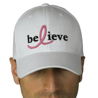($24.95) Believe Breast Cancer Ribbon Hat Embroidered Baseball Cap