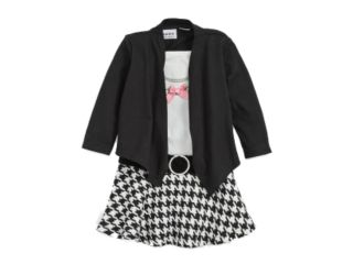 Youngland Infant & Toddler Girls Black & White Check Dress Pink Ribbon & Pearls