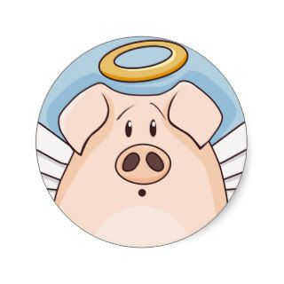 Cute Cartoon Angel Pig Round Stickers