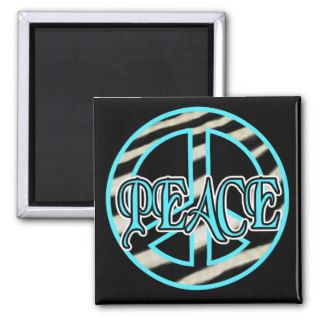 Zebra Print Peace Sign Refrigerator Magnets