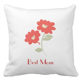 Mother's Day Best Mom Pillow Red Flowers