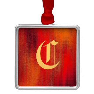 """Old English Letter """"C"""" on Abstract Red Background Ornaments"""