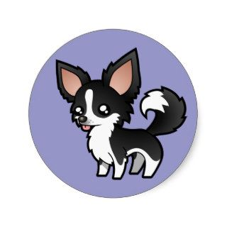 Cartoon Chihuahua (pied long coat) Stickers