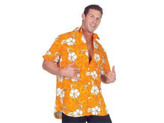Mens Luau Halloween Costume Orange Floral Hawaiian Shirt